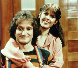 Big break: Robin Williams and Mindy McConnell in Morkl and Mindy which ran from 1978 to 1982 and launched the comedian to national prominence.