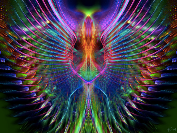 rainbow alien bird by Tracy2020: swinck
