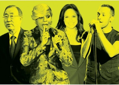 From left, United Nations Secretary-General Ban Ki-moon, singer Mary J. Blige, TV journalist Soledad O'Brien and Coldplay's Chris Martin will all appear during Saturday's Global Citizen 2015 Earth Day rally. (Getty Images/Express Illustration)
