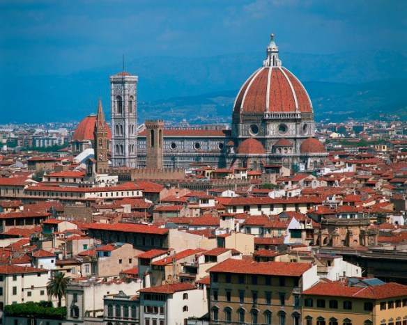 This is the view of Florence from our apartment. The graceful Cathedral of Santa Maria del Fiore, and its baptistery and campanile, form the heart of Florence, Italy. 1296-1462 Florence, Italy