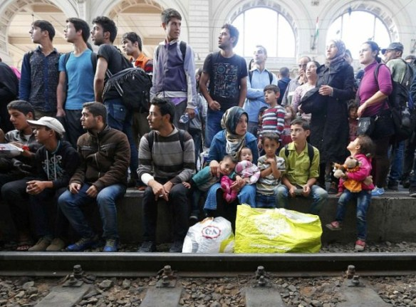 Syrian Refugees at Railway Station in Budapest - Hungary - September 2015