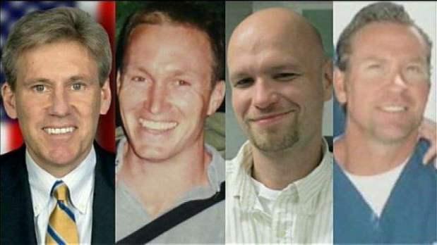 "Ambassador J. Christopher Sevens, GRS Glenn ""Bub"" Doherty, Diplomat Sean Smith, GRS Tyrone ""Rone"" Woods"