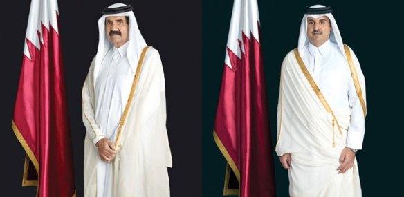 Father His Highness Emir Sheikh Hamad bin Khalifa al-Thani and HH the Emir Sheikh Tamim bin Hamad al-Thani