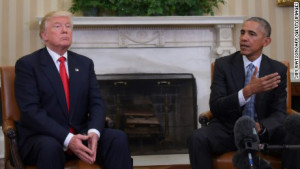 After a brief conversation with Barack Obama, Donald Trump is coming to a terrible realization that this president job isn't going nearly as fun as he'd hoped. Image source: CNN