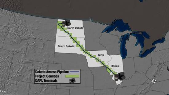 Map of the Dakota Access Pipeline Route