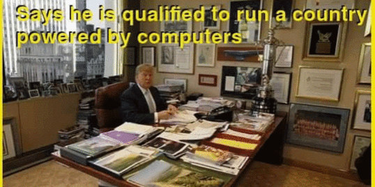 A man who 'knows a lot about hacking', doesn't have a computer on his desk.........