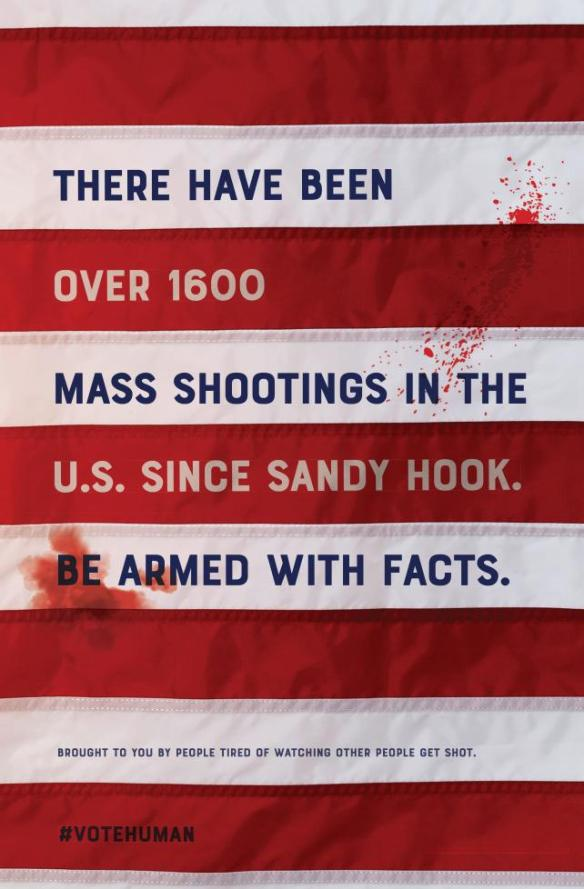 a poster deisigned by Doug Gould depicting a bloody flag and the number og deaths by gun in mass shootings since Sandy Hook