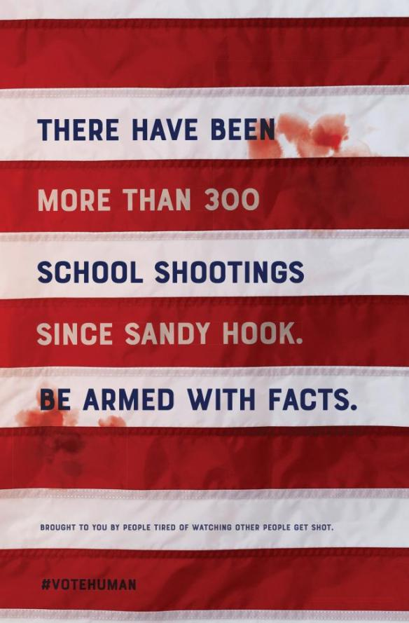 a poster deisigned by Doug Gould depicting a bloody flag and the number of school shootings since Sandy Hook