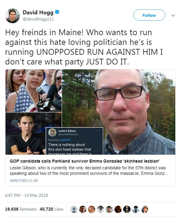 David Hogg's tweet about Leslie Gibson