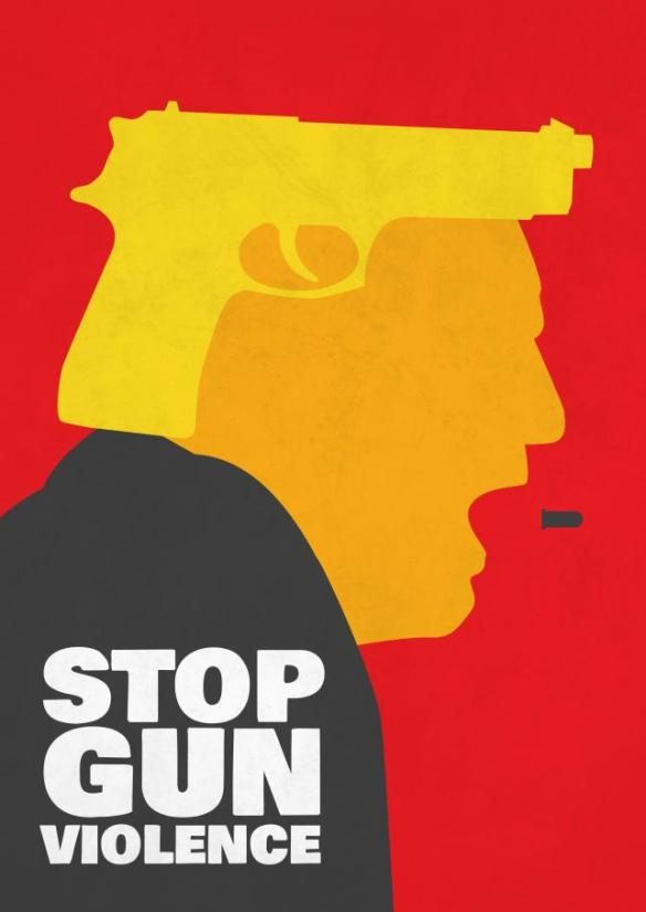 A graphic design by Javier Perez that reads 'Stop Gun Violence' and shows Trump spitting bullets