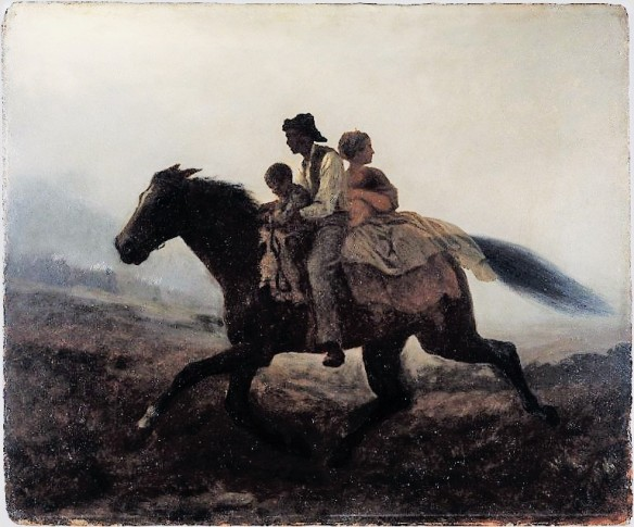 Re-processed digitized image scanned from an oil painting by Eastman Johnson, A Ride for Liberty, The Fugitive Slaves