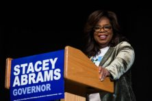 MARIETTA, GA - NOVEMBER 01: Oprah Winfrey talks to an audience about the importance of voting and her support of Georgia Democratic Gubernatorial candidate Stacey Abrams during a town hall style event at the Cobb Civic Center on November 1, 2018 in Marietta, Georgia. (Photo by Jessica McGowan/Getty Images)