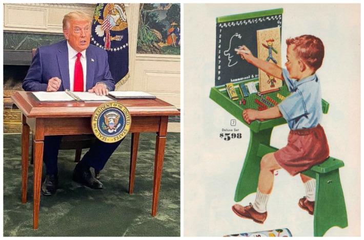 Trump little desk and vintage child illustration at desk