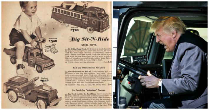 Vintage toy catalogue and Trump in truck